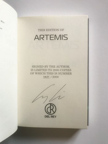 Image for ARTEMIS - Signed & Numbered First Edition + Bookmark
