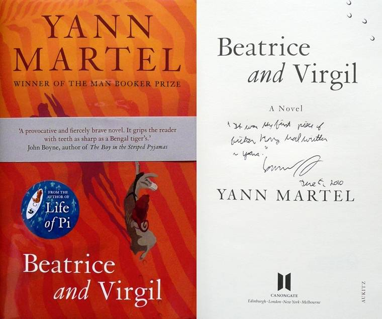 Image for BEATRICE AND VIRGIL Signed, Lined and Dated UK First Edition plus Bellyband & Postcard