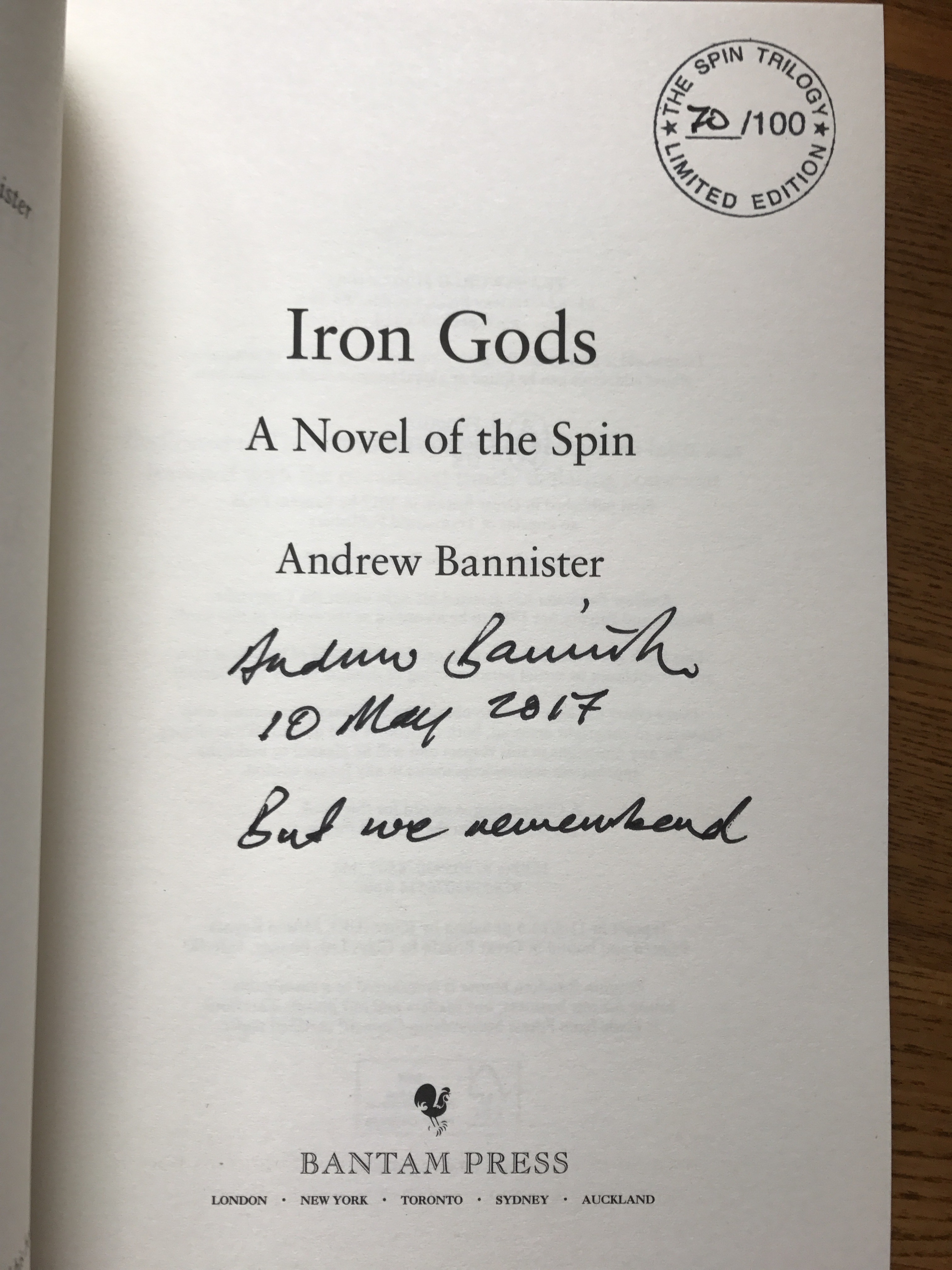 Image for IRON GODS - Signed, Lined, Dated & Numbered First Edition