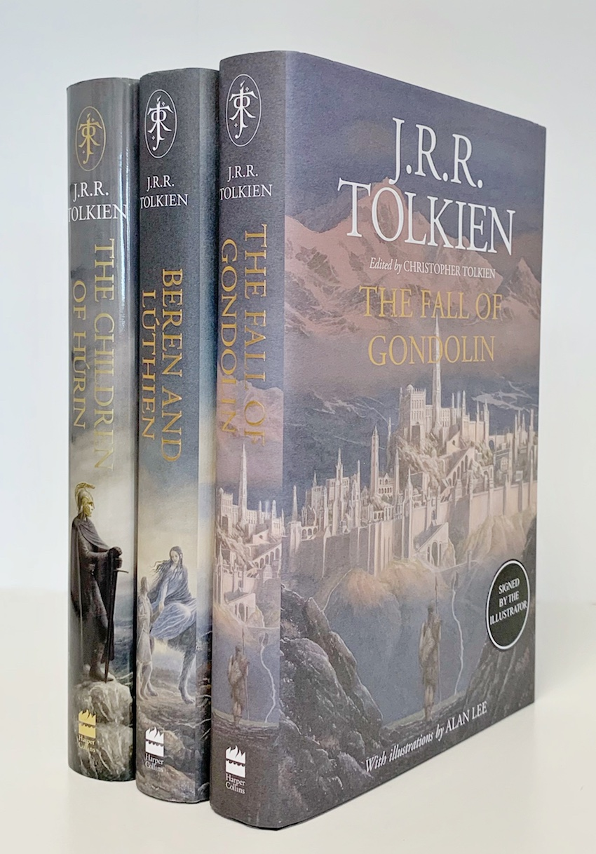 Image for Set of 3 Books: THE CHILDREN OF HURIN, BEREN AND LUTHIEN & THE FALL OF GONDOLIN. - Signed by the illustrator Alan Lee. First editions, first printings. PLUS: 3 Bookmarks including a Signed one.