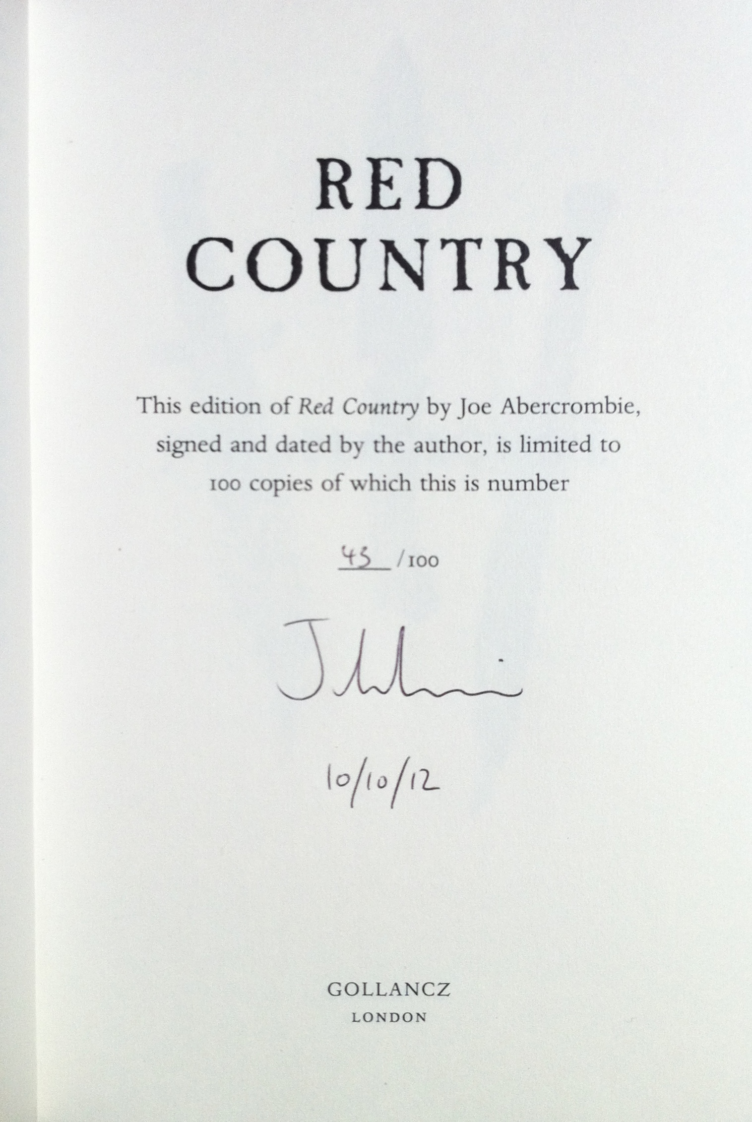 Image for RED COUNTRY Signed, Pre-publication Dated & Numbered First Edition