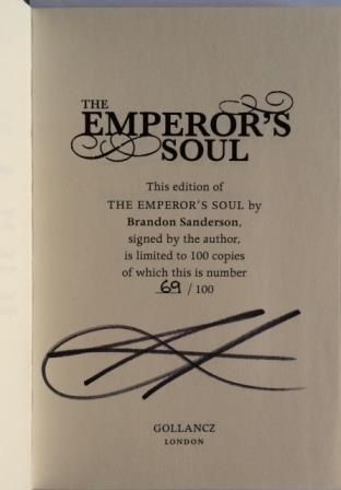 Image for THE EMPEROR'S SOUL Signed & Numbered First Edition